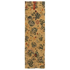 Tudor-Inspired Cream and Green Wool Floral Runner