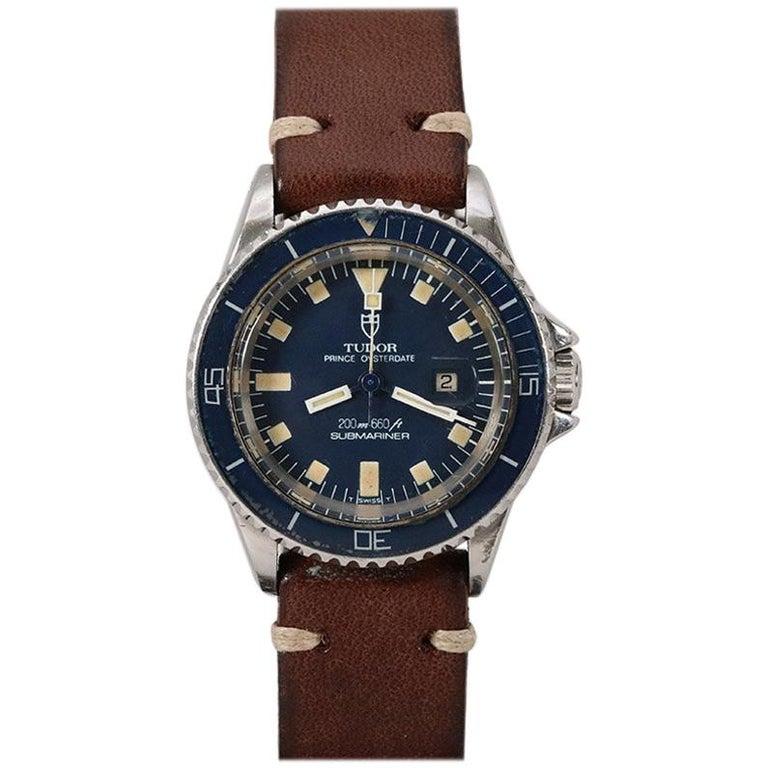 b0a0355bd7ea8 Tudor Ladies Stainless Steel Mini Sub Snowflake Prince Blue Automatic  Wristwatch