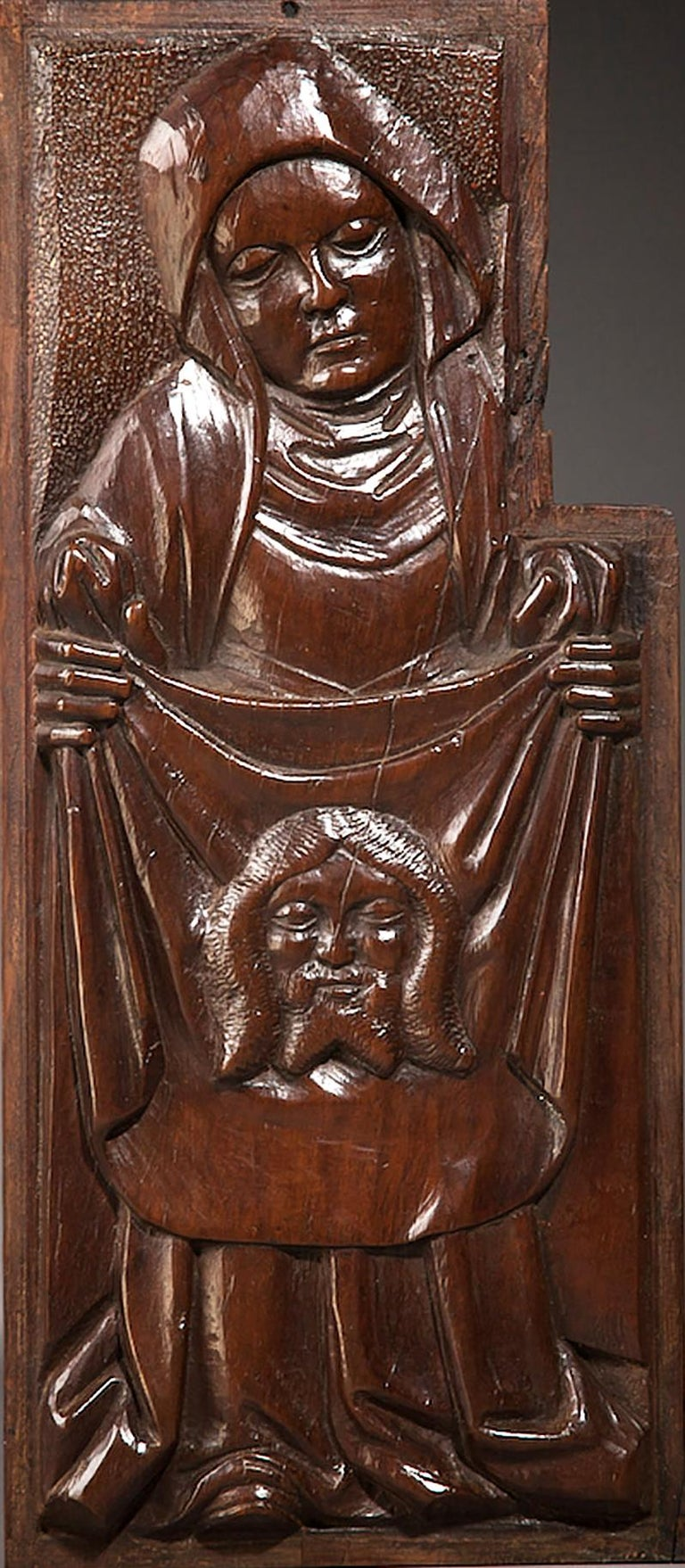 Rare set of four English Tudor Pre Reformation Yew panels, circa 1500-1540.
