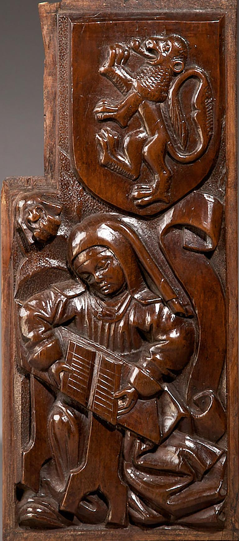 Hand-Carved Tudor Pre Reformation Yew Panels, English, circa 1500-1540 For Sale