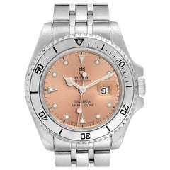 Tudor Prince Date Mini Sub Salmon Dial Steel Men's Watch 73190 Papers