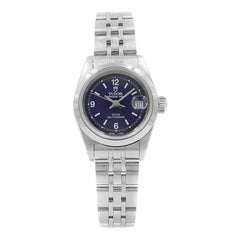 Tudor Princess Oyster Date Steel Blue Dial Automatic Ladies Watch 92400N