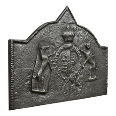 Tudor Revival Cast Iron Fire Back, Royal Crest, Lion, Greyhound, Victorian