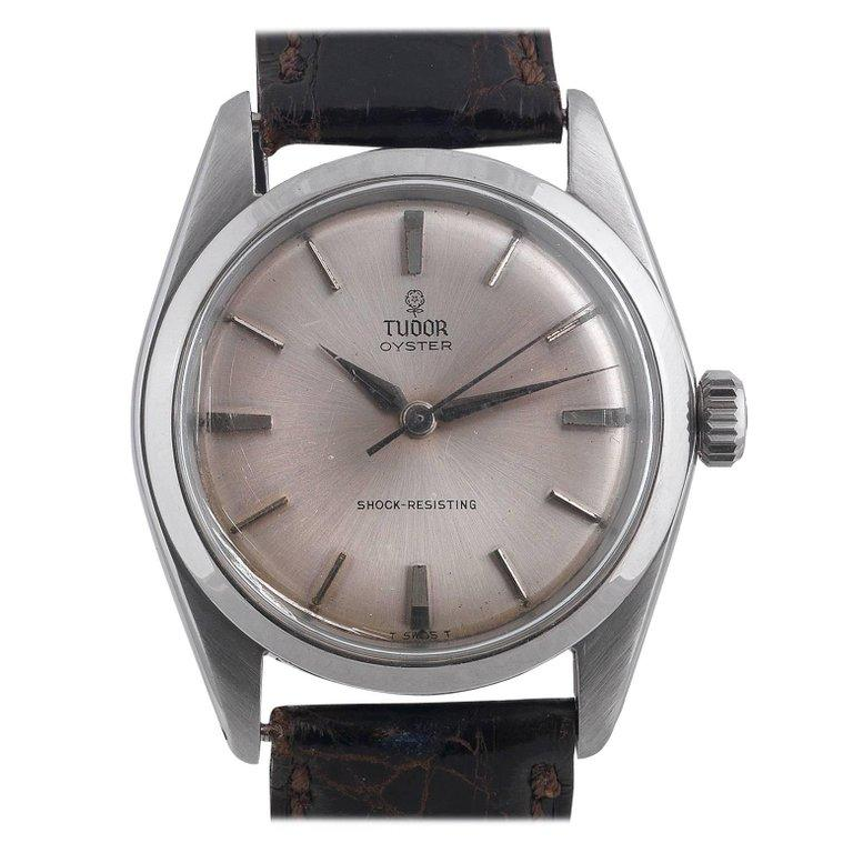 A stainless steel manually wound centre second wristwatch  This Tudor wristwatch has a smart silvered dial with applied baton indexes. Unusually for this model, the dial is of non-luminous type with special Alpha shaped, non-luminous hands and with