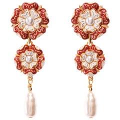 Tudor Rose Long Drop Earring