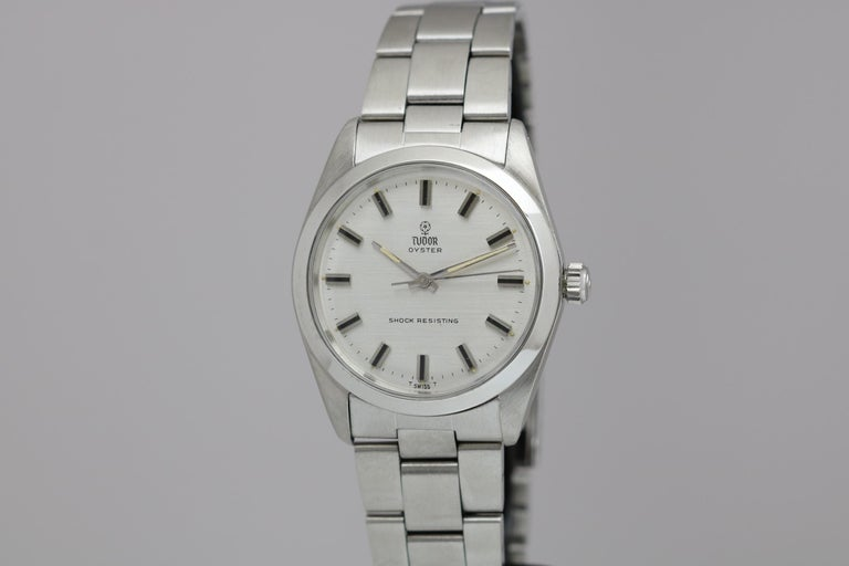 Tudor Shock Resisting Ref 7991/0 in stainless steel with silver dial and Tudor Rose logo. Comes on a Rolex oyster foldover link bracelet circa 1965
