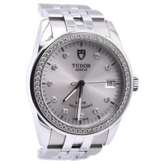 Tudor Stainless Steel Glamour Watch with Diamond Bezel and Diamond Dial