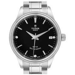 Tudor Style Date Black Dial Diamond Steel Ladies Watch M12300 Unworn