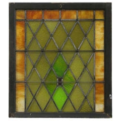 Tudor Style Diamond Pattern Stained Glass Window, circa 1915