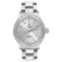 Tudor Style Silver Diamond Dial Steel Ladies Watch M12100 Unworn