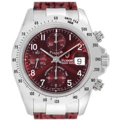 Tudor Tiger Woods Chronograph Burgundy Dial Steel Men's Watch 79280P