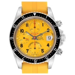 Tudor Tiger Woods Prince Date Yellow Dial Leather Strap Men's Watch 79270
