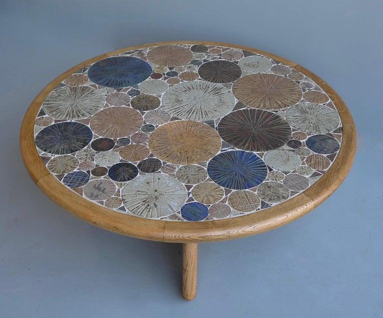 Mid-Century Modern Tue Poulsen Ceramic and Oak Multi-Color Art Coffee Table, Denmark, 1963