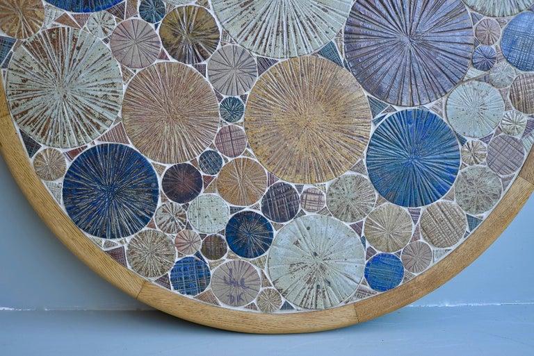Danish Tue Poulsen Ceramic and Oak Multi-Color Art Coffee Table, Denmark, 1963