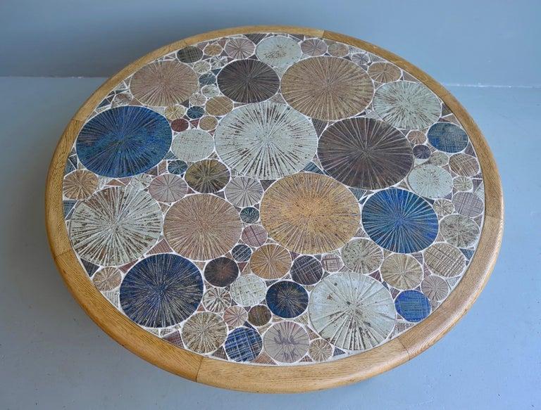 Tue Poulsen Ceramic and Oak Multi-Color Art Coffee Table, Denmark, 1963 1