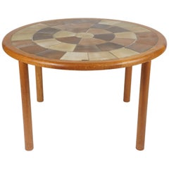 Tue Poulsen Ceramic Tile Dining/ Dinette or Game Table by Haslev Teak Frame