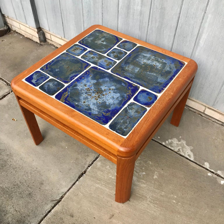 Wood Tue Poulsen Danish Modern Hand Painted Tile Coffee Table For Sale