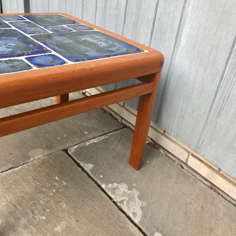 Tue Poulsen Danish Modern Hand Painted Tile Coffee Table For Sale 1