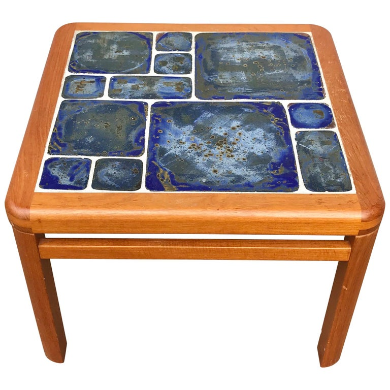 Tue Poulsen Danish Modern Hand Painted Tile Coffee Table For Sale