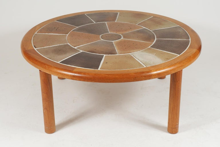 Mid-Century Modern Tue Poulsen Designed Ceramic Tile & Teak Coffee / Center Table by Haslev, Hygge For Sale