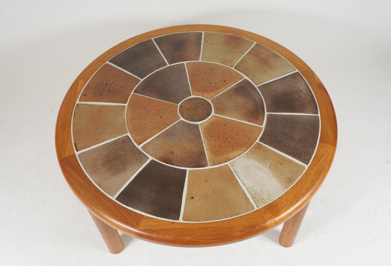 Danish Tue Poulsen Designed Ceramic Tile & Teak Coffee / Center Table by Haslev, Hygge For Sale