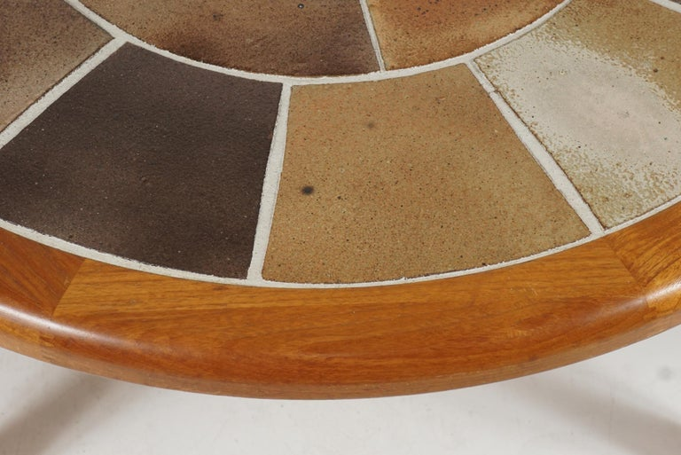 Tue Poulsen Designed Ceramic Tile & Teak Coffee / Center Table by Haslev, Hygge In Good Condition For Sale In Hudson, NY