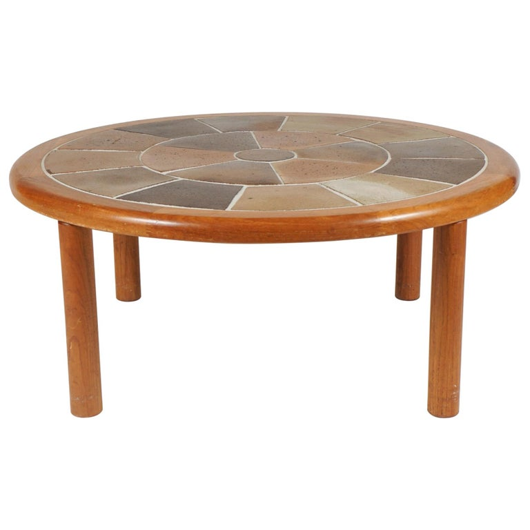 Tue Poulsen Designed Ceramic Tile & Teak Coffee / Center Table by Haslev, Hygge For Sale