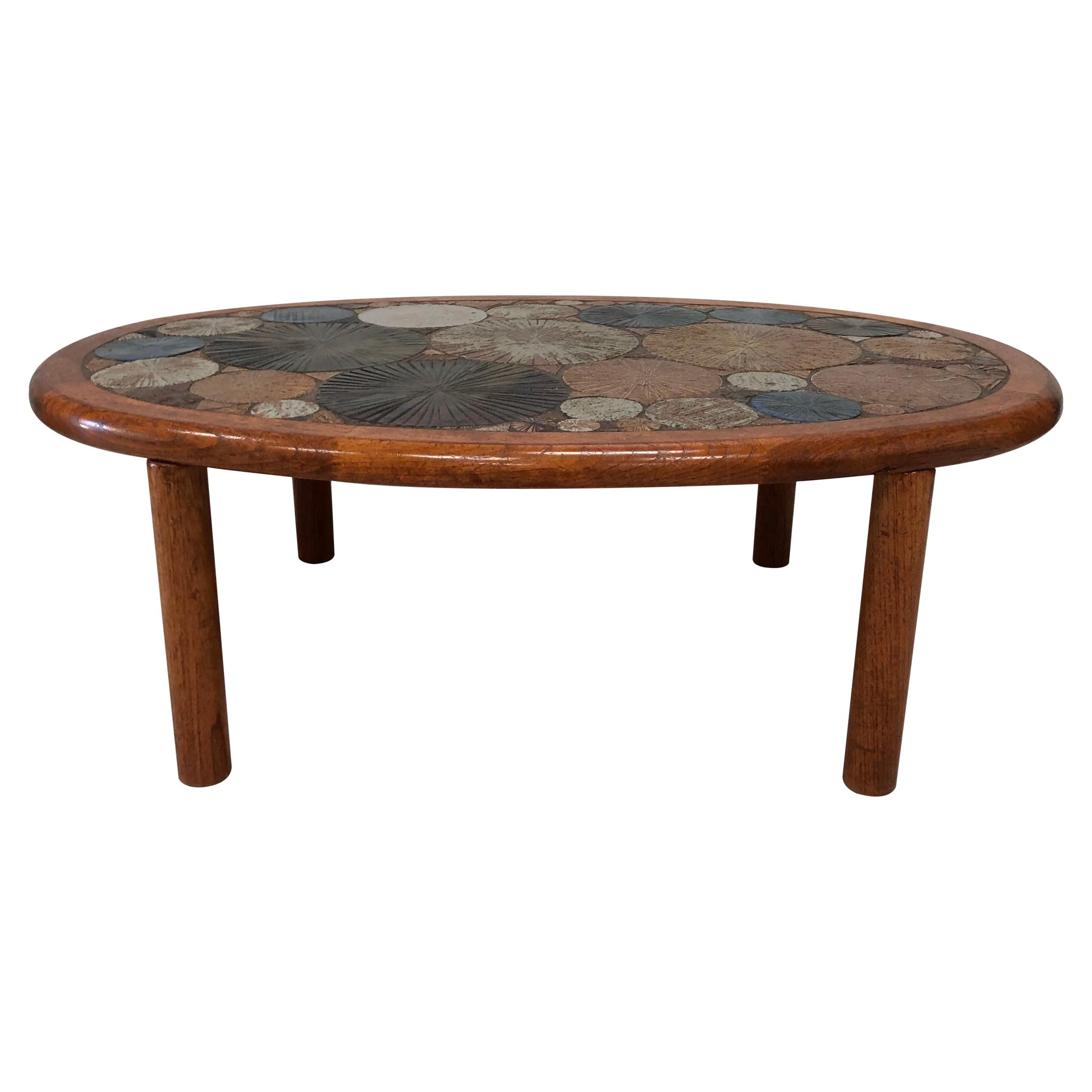 Tue Poulsen Haslev Denmark Oval Teak and Ceramic Art Coffee Table, 1960s