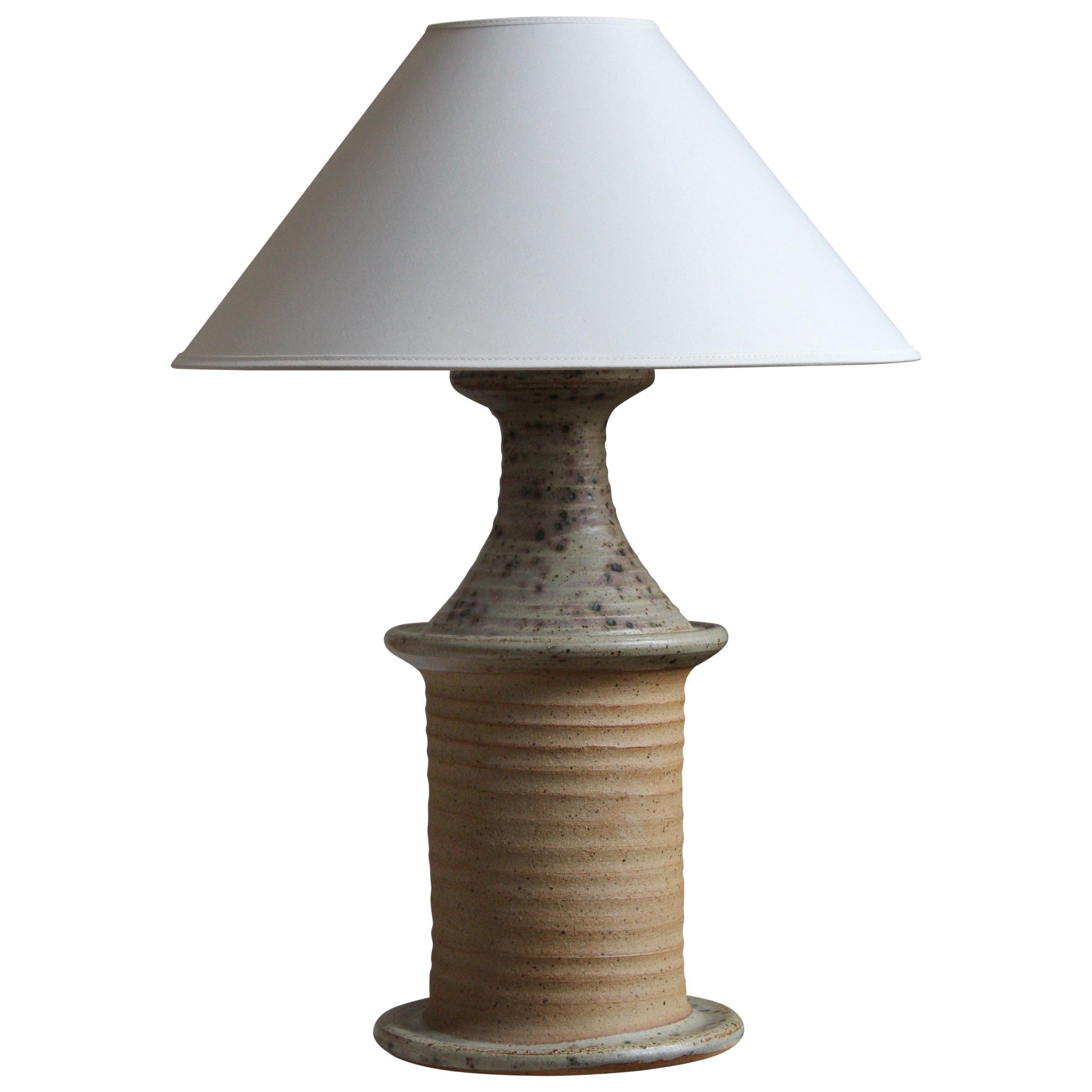 Tue Poulsen, Sizable Table Lamp, Glazed Stoneware, Denmark, 1960s
