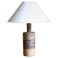 Tue Poulsen, Table Lamp, Semi-Glazed and Incised Stoneware, Denmark, 1960s