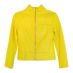 Tufi Duek Yellow Leather Front Zip Jacket IT40