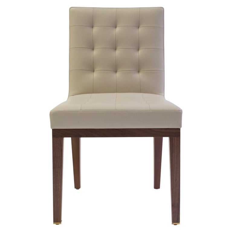 Tufted and Buttoned Side Chair Covered in Tan Leather with Medium Oak Wood Legs  1