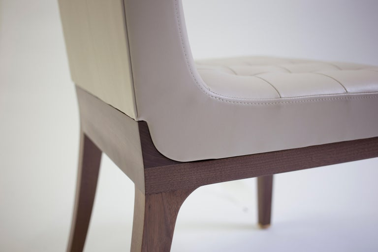 American Tufted and Buttoned Side Chair Shown in Tan Leather with Medium Oakwood Legs For Sale