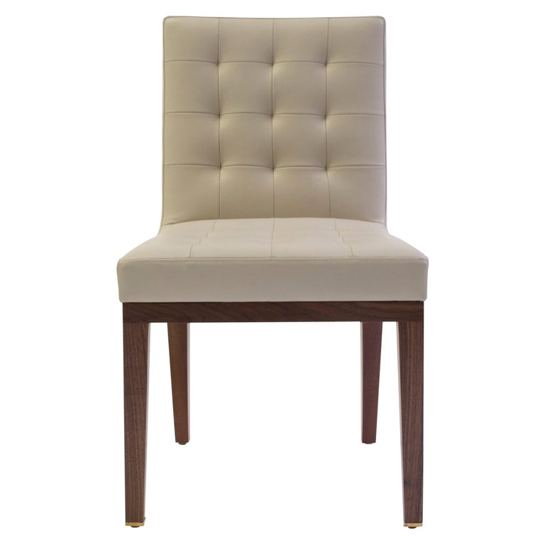 Tufted and Buttoned Side Chair Shown in Tan Leather with Medium Oakwood Legs For Sale