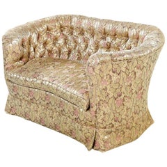 Tufted Antique Victorian Bohemian Rose Gold and Beige Floral Settee