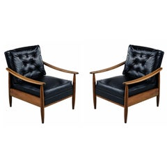 Tufted Black Vinyl Mid-Century Modern Solid Oak Lounge Chairs Set, 1950s