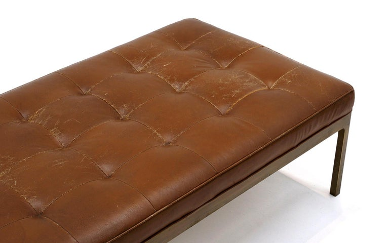 American Tufted Brown Leather Bench with Solid Bronze Frame by Nico Zographos, Signed For Sale