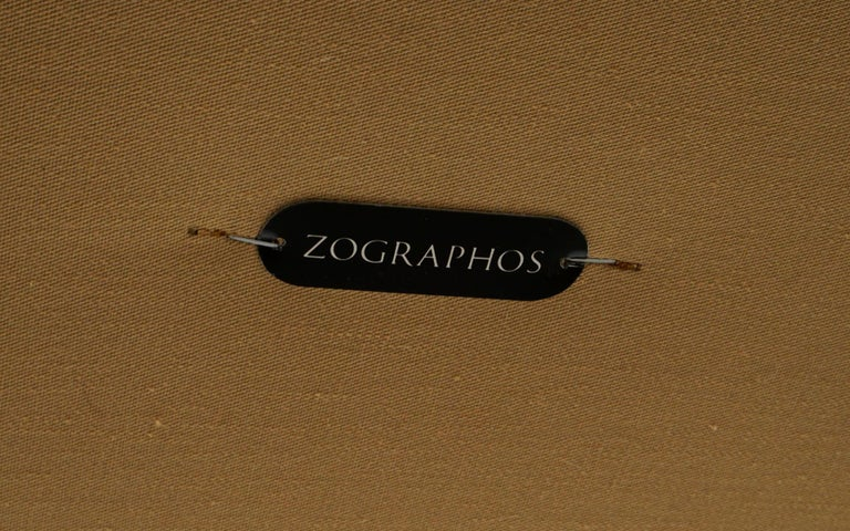Tufted Brown Leather Bench with Solid Bronze Frame by Nico Zographos, Signed For Sale 1