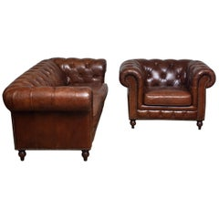 Tufted Brown Leather Chesterfield Sofa and Arm / Lounge Chair