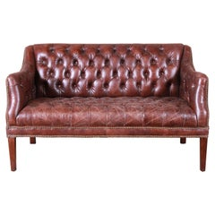 Tufted Brown Leather Chesterfield Sofa or Loveseat