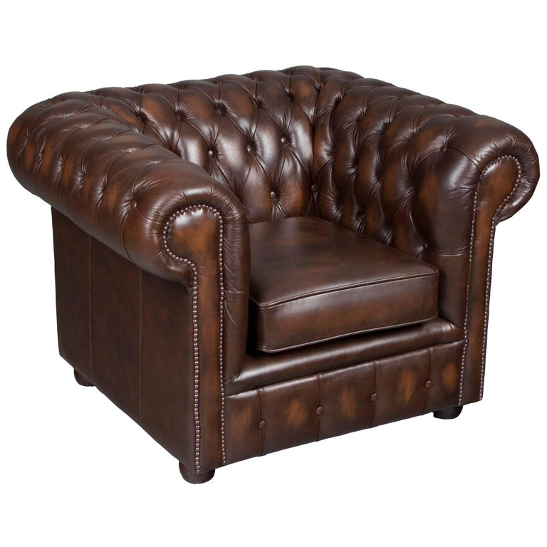 tufted brown leather club chair at 1stdibs. Black Bedroom Furniture Sets. Home Design Ideas