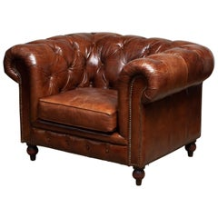 Tufted Brown Leather English Chesterfield Lounge Easy Chair, 20th Century