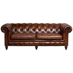 Tufted Brown Leather English Chesterfield Sofa from the 20th Century
