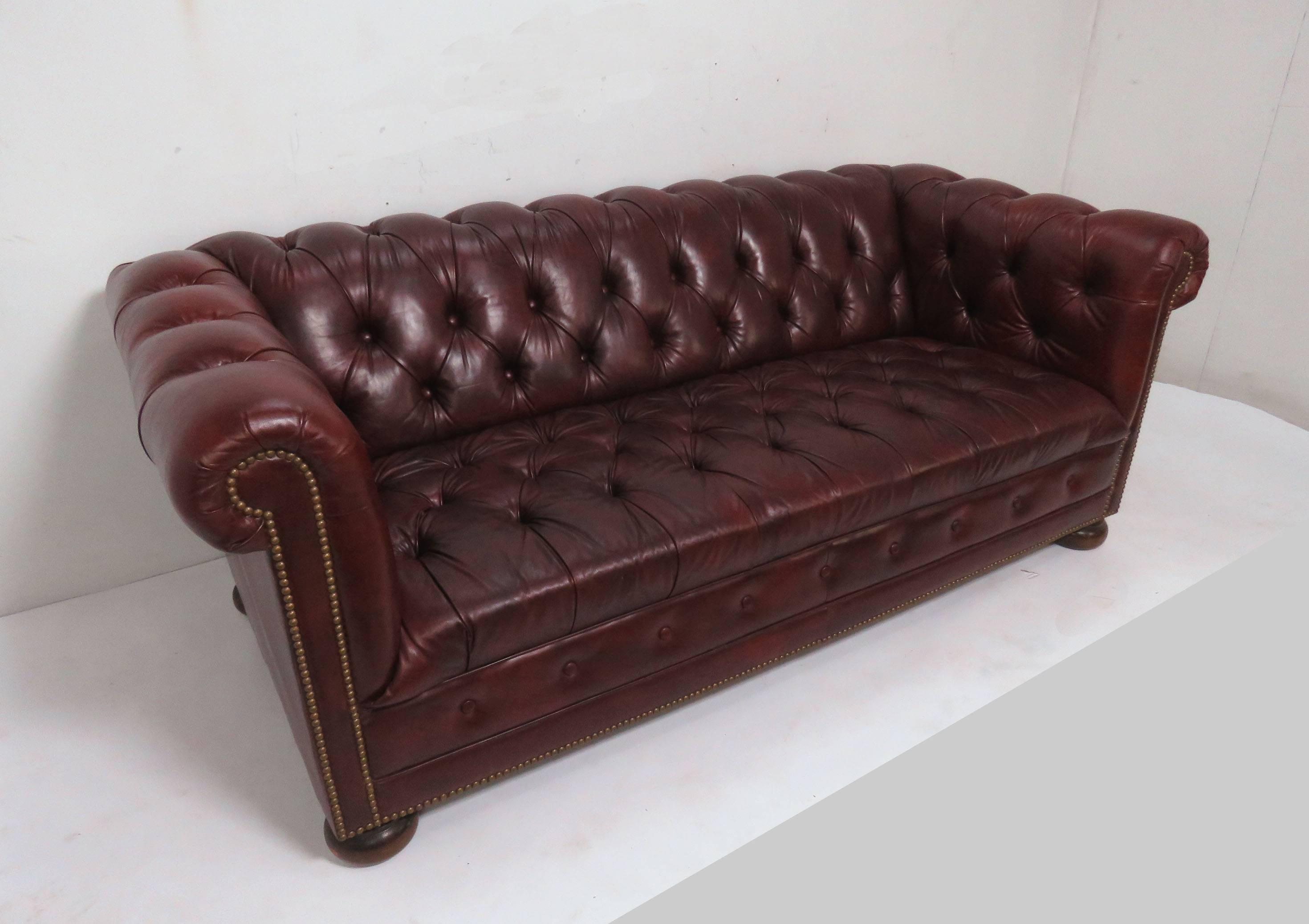 Tufted Chesterfield Sofa In Cordovan Leather, Circa 1970s