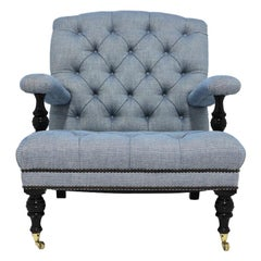 Tufted Club Chair in Blue Linen Fabric with Turned Wood Legs and Nailhead Trim
