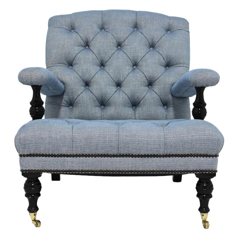 Tufted Club Chair in Blue Linen Fabric with Turned Wood Legs and Nailhead Trim For Sale