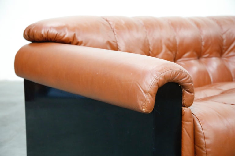 Cognac Leather 'Bounty' Loveseat by L. Davanzati for The Pace Collection, 1980s  For Sale 5