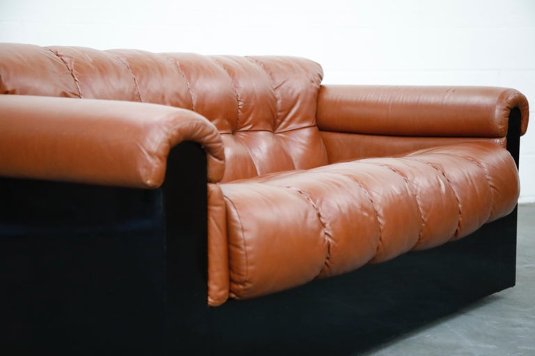 Cognac Leather 'Bounty' Loveseat by L. Davanzati for The Pace Collection, 1980s  For Sale 6