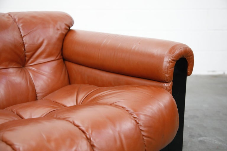 Cognac Leather 'Bounty' Loveseat by L. Davanzati for The Pace Collection, 1980s  For Sale 7