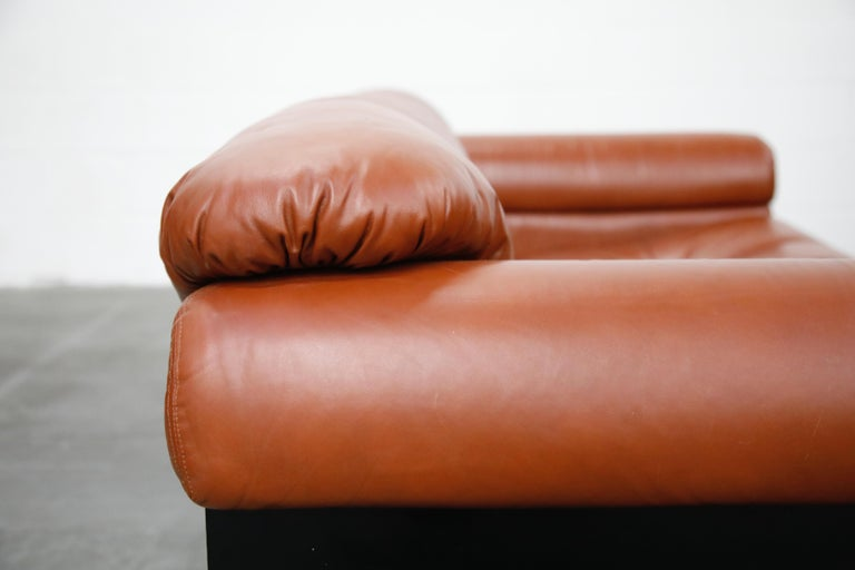 Cognac Leather 'Bounty' Loveseat by L. Davanzati for The Pace Collection, 1980s  For Sale 8